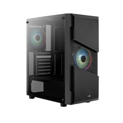 AEROCOOL - AEROCOOL POWERSIZ MENACE SATURN AE-MNS 2X RGB FANLI GAMING MID-TOWER KASA SİYAH