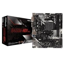 ASROCK - ASROCK AM4 B450 DDR4 B450M-HDV R4.0 4x Sata 1x M2 Sata HDMI DVI AMD Ryzen Graphics 2x (PCIe) mATX
