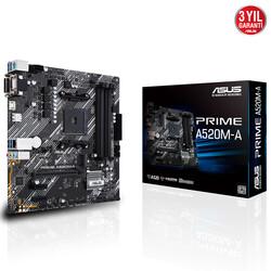 ASUS - ASUS PRIME A520M-A DDR4 SATA3 M2 PCIe NVME HDMI DVI PCIe 16X v4.0 AM4 mATX
