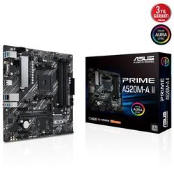 ASUS - ASUS PRIME A520M-A II DDR4 M2 PCIe NVME HDMI DP PCIe 16X v3.0 AM4 mATX