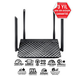 ASUS - ASUS RT-AC1200 300+867Mbps 4 Port GBit Wireless Vpn 4 x Dış Anten Router 3G Destekli