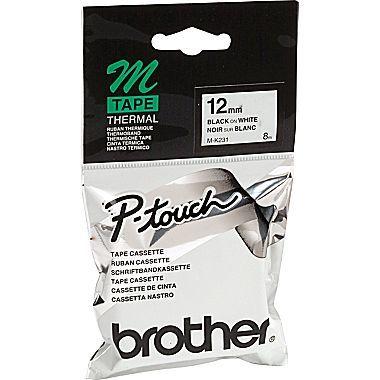 BROTHER P-TOUCH M-K231 M-TAPE 12MM BEYAZ ÜZERİNE SİYAH KAĞIT ETİKET