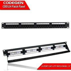 CODEGEN - CODEGEN COD524 Cat-5E 19'' 24Port UTP 1U Patch Panel