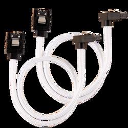 CORSAIR - CORSAIR CC-8900279 Premium Sleeved SATA 6Gbps 30cm 90° Connector Cable — White