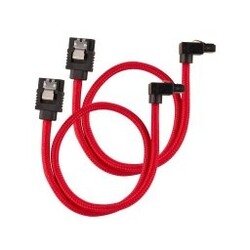 CORSAIR - CORSAIR CC-8900284 Premium Sleeved SATA 6Gbps 60cm 90° Connector Cable — Red