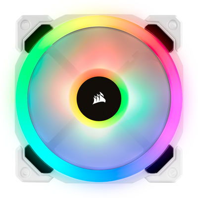 CORSAIR CO-9050092-WW LL120 RGB 120mm DUAL LIGHT LOOP RGB LED PWM FAN 3 FAN PACK WITH LIGHTING NODE PRO WHITE