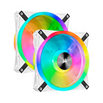 CORSAIR - CORSAIR CO-9050106-WW QL Series, WHITE QL140 RGB - CO-9050106-WW - 140mm RGB LED Fan, Dual Pack with Lighting Node CORE