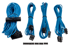 CORSAIR - CORSAIR POWER CORD - CP-8920147 Premium Individually Sleeved PSU Cable Kit Starter Package, Type 4 (Generation 3) - Blue