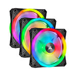CORSAIR QL Series, WHITE QL120 RGB - CO-9050104-WW - 120mm RGB LED Fan, Triple Pack with Lighting Node CORE