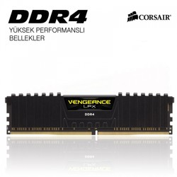CORSAIR - Corsair VENGEANCE Siyah DDR4-2666Mhz CL16 8GB (1X8GB) Sıngle (16-18-18-35) (CMK8GX4M1A2666C16)