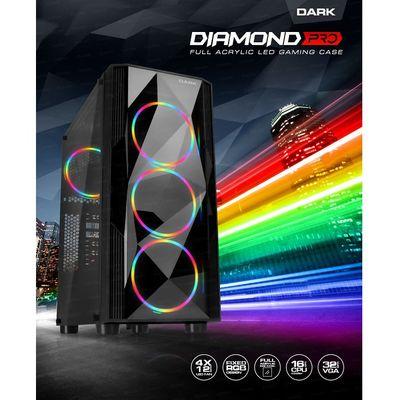 DARK mid Tower Powersiz DIAMOND PRO DKCHDIAMONDPRO ATX PC Kasası Pencereli Siyah