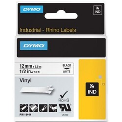 DYMO - Dymo RhinoPRO Renkli Vinil 12mmx5,5m Beyaz-Siyah