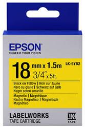 EPSON - Epson LK-5YB2 Mıknatıslı Siyah Üzeri Sarı 18MM 1,5Metre Etiket