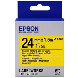 EPSON - Epson LK-6YB2 Mıknatıslı Siyah Üzeri Sarı 24MM 1,5Metre Etiket