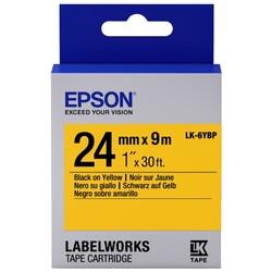 EPSON - Epson LK-6YBP Pastel Siyah Üzeri Sarı 24MM 9Metre Etiket