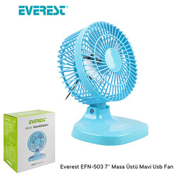 EVEREST - Everest EFN-503 7 Usb Plastik Masaüstü Vantilatör Mavi