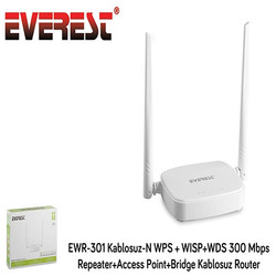EVEREST - EVEREST EWR-301 4 Port 300Mbps Repeater 2.4GHz İndoor Access Point 2Adet 5dbi AP/Router