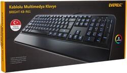 EVEREST - EVEREST KB-R61 BRIGHT Q Türkçe USB Multimedya 3 Renk Aydınlatmalı Siyah Klavye