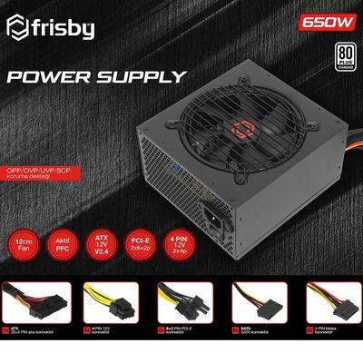 FRISBY 650w FR-PS6580P 12cm Fan 80+ Power Supply (PSU) 2x (6+2pin) Sata