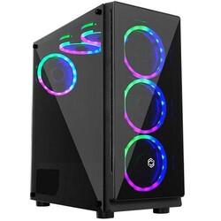 FRISBY - FRISBY FC-9330G 600w 80+ Siyah Dual-Ring RGB Fan Mid Tower