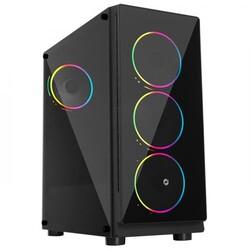 FRİSBY - Frisby FC-9355G 600W 4 x Double Slim Ring Fan Temperli Cam USB 3.0 ATX Mid-Tower Gaming Kasa