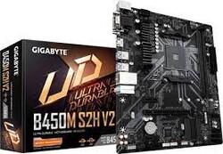 GIGABYTE - GIGABYTE B450M-S2H v2 DDR4 SATA3 M2 PCIe NVME HDMI DVI PCIe 16X v3.0 AM4 mATX
