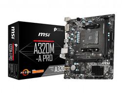 MSI - MSI A320M-A PRO AM4 DDR4 3200(OC) DVI HDMI USB3.2 mATX