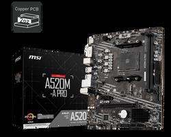 MSI - MSI A520M-A PRO AM4 DDR4 4600(OC) DVI HDMI M.2 USB3.2 mATX