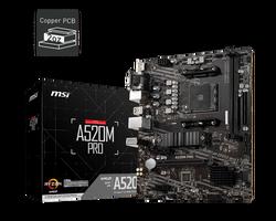 MSI - MSI A520M PRO AM4 DDR4 4600(OC) VGA DVI HDMI M.2 USB3.2 mATX