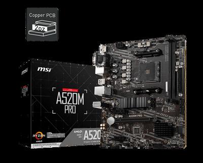MSI A520M PRO AM4 DDR4 4600(OC) VGA DVI HDMI M.2 USB3.2 mATX