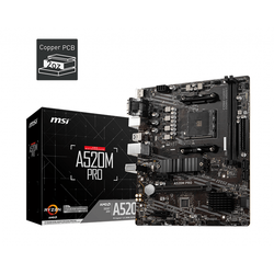 Msi - MSI A520M PRO DDR4 3200MHZ VGA HDMI DP M.2 USB 3.2 MATX AM4