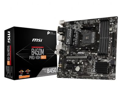 MSI B450M PRO-VDH MAX AM4 DDR4 3866(OC) 4xDIMM DVI HDMI VGA GLAN M.2 USB3.2 mATX