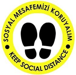 OEM - OEM C19 Sarı İngilizce 20x20cm Sosyal Mesafe Etiketi Zemin