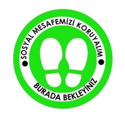 OEM - OEM C20 Yeşil 20x20cm Sosyal Mesafe Etiketi