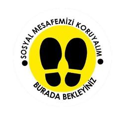 OEM - OEM C24 Sarı Çerçevesiz 20x20cm Sosyal Mesafe Etiketi