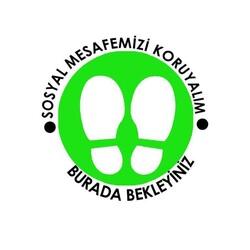 OEM - OEM C26 Yeşil Çerçevesiz 30x30cm Sosyal Mesafe Etiketi