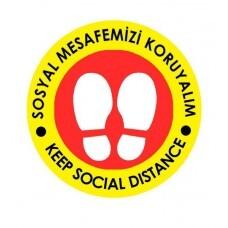 OEM - OEM C31 Sarı Kırmızı İngilizce 30x30cm Sosyal Mesafe Etiketi