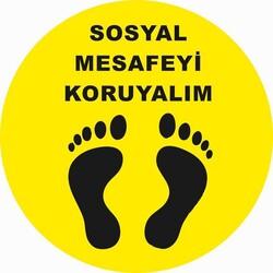 OEM - OEM C33 Sarı Ayak 30x30cm Sosyal Mesafe Etiketi