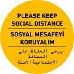 OEM - OEM C36 İngilizce-Arapça-Türkçe Sarı 30x30cm Sosyal Mesafe Etiketi