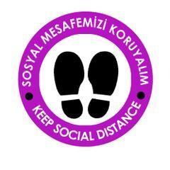 OEM - OEM Mor 30x30cm Sosyal Mesafe Etiketi Zemin