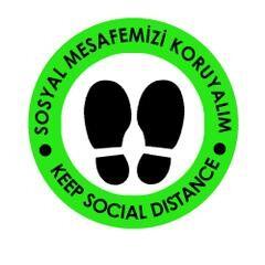 OEM - OEM Yeşil İngilizce 30x30cm Sosyal Mesafe Etiketi Zemin
