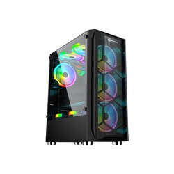 PERFORMAX - Performax Hellfire Siyah Temp. Cam RGB ATX 550W 80+ Atx Gaming Oyuncu Kasası