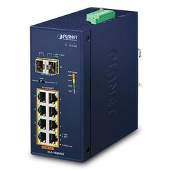 PLANET - Planet PL-IGS-1020PTF Industrial 8-Port 10/100/1000T 802.3at PoE + 2-Port 100/1000X SFP Ethernet Switch