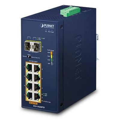 Planet PL-IGS-1020PTF Industrial 8-Port 10/100/1000T 802.3at PoE + 2-Port 100/1000X SFP Ethernet Switch