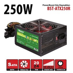 POWER BOOST - POWER BOOST BST-ATX250R 250W Siyah 20+4pin, 2xSata (Kutulu) Power Supply