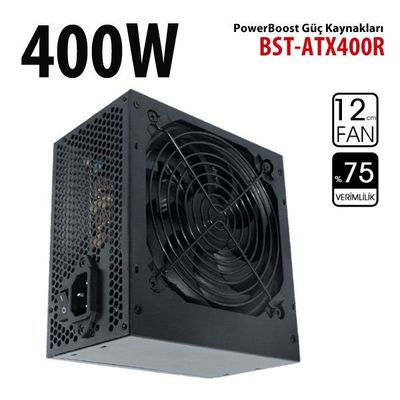 POWER BOOST BST-ATX400R 400W Siyah 20+4Pin,4xSata (Kutulu) Power Supply