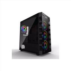 POWER BOOST - POWER BOOST X-59 GLASS Powersız Siyah Temper Camlı MidTower ATX Kasa