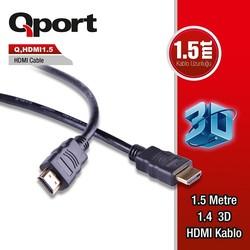 QPORT - QPORT Q-HDMI1_5 1.5M v1.4 3D Ağ Destekli Altın Uçlu HDMI Görüntü Kablosu