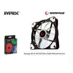 RAMPAGE - RAMPAGE 12cm JBT-15 Siyah 15x LED RGB Kasa Fanı 6pin