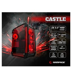 RAMPAGE mid Tower Powersiz Gaming CASTLE ATX PC Kasası Temperli Cam Siyah - Thumbnail